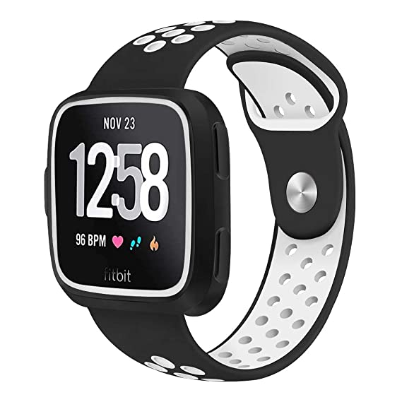 Joyozy Premium Silicone Bands Compatible with New Fitbit Versa Lite and Fitbit Versa Smartwatch with Protective Case Two-Color Perforation Breathable ...