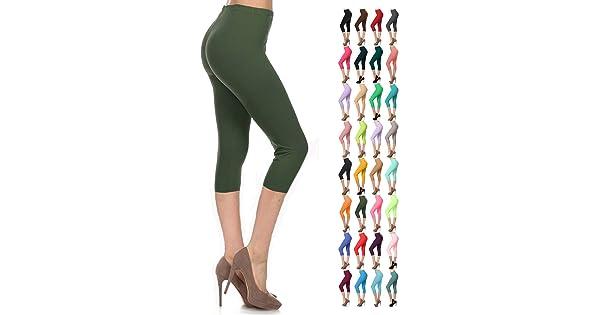 f67e00403132d9 Leggings Depot Women's Popular Basic Capri Cropped Regular and Plus Solid  High Waist Leggings (Plus (Size 12-24), Olive)