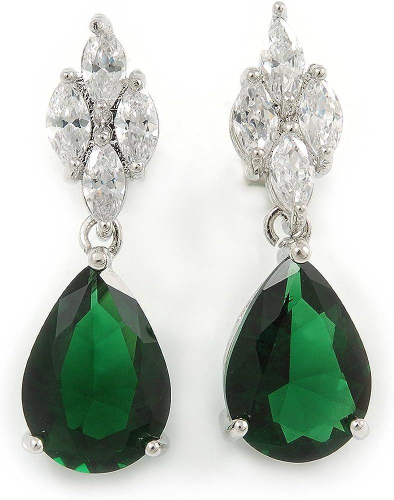 Pendientes de lágrima de circonita verde esmeralda en aleación chapada en rodio – 30 mm L