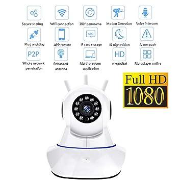 Actualizado 360 Grado PTZ Pan/Tilt 1080P HD Smart Vigilancia Domo Cámara Súper Fuerte Señal App Home Remoto Multifunción Monitor De Seguridad Sistema,One: ...