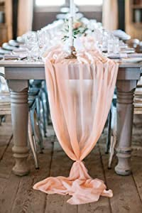 Sheer Table Runner 27 x120 Inches Wedding Decorations Light Peach Wedding Table Runner Overlay Chiffon for Wedding Birthday Party Tables Decoration
