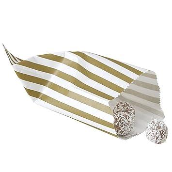 Bolsas de papel para sus Candy Bar - oro/Crema - 25 bolsas ...