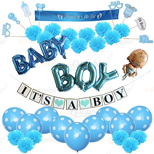 Boy Baby Shower Decorations for kit pennant Banner Tissue Paper games gifts favors thank you card Tassels Gold Foil Hanging Party Supplies parents moms crown cupcakes flowers first baby mother (Baby Shower Favor Decoration)