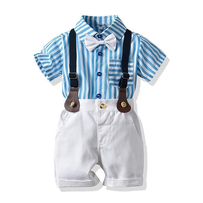 Amazon.com: Bebé Niños Rayas Camisa Pantalones Cortos Trajes ...