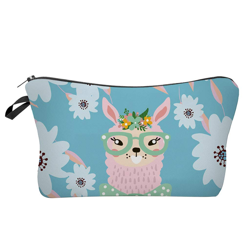 Pausseo Women Letters Alpaca Printing Makeup Cosmetic Brushes Bag Toiletry Storage Travel Handbag Student Pencil Zipper Clutch Case Stationery Box Pouch School Supplies Coins Change Pen Purse Pack (F)