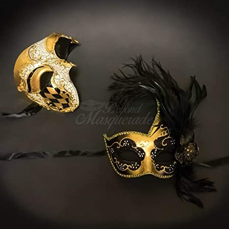 BeyondMasqeurade His and Her Gold Phantom of the Opera Themed Masquerade Mask