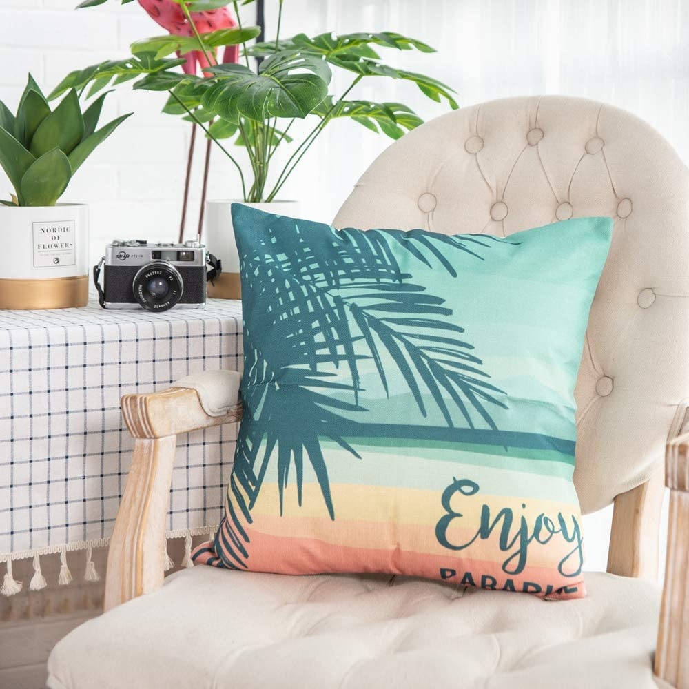 Set of 4 18 x 18 Inches Traney Rainforest /& Summer Theme Style Soft Linen Burlap Square Throw Pillow Covers