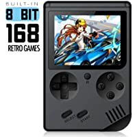 SONADY Retro Portátil Mini Consola de Videojuegos portátil Gameboy Reproductor de Juegos de TV en Color para niños con LCD de 8 bits LCD Incorporado 168 Juegos,Black