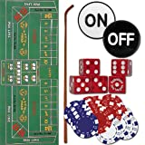 TMG Deluxe Home Craps Set with Bonus Deck of Cards - Includes Felt, Dice Stick, Dice Cup, Dice, Chips & Button!