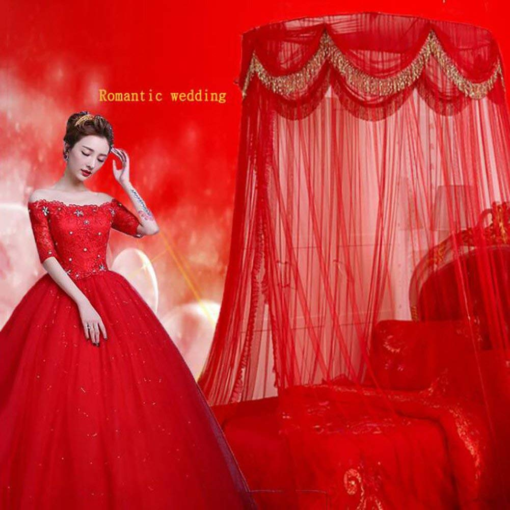 the soil cycle with 1 door double room living full-size 4-poster bed-B HQYXGS Marriage red mosquito net invisible