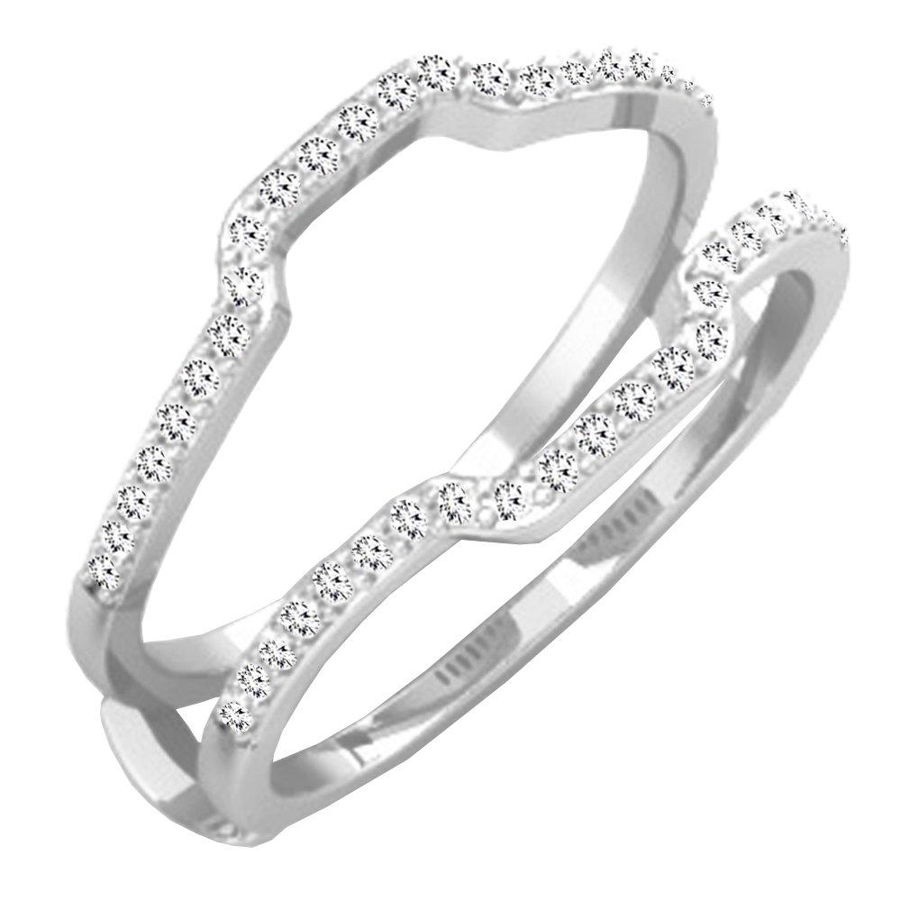 0.25 Carat (ctw) 10K White Gold White Diamond Wedding Band Enhancer Guard Ring 1/4 CT (Size 7)