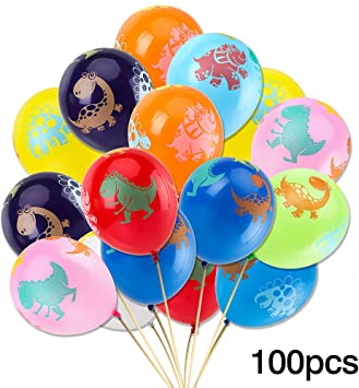 100pcs Dinosaur Birthday Balloons - Party Pack Jurassic World Dinosaur Style Multicolored Balloons for Children