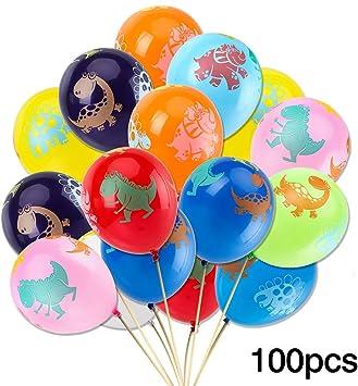 Amazon.com: 100 globos de dinosaurio para cumpleaños ...