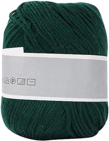 Pssopp Leche Hilo de algodón Colorido Bebé Leche Hilo de algodón Suave Chunky Leche de algodón Crochet Prendas de Punto DIY Hilo de Tejer a Mano Mulit-Colorido Opcional(Verde Oscuro): Amazon.es: Hogar