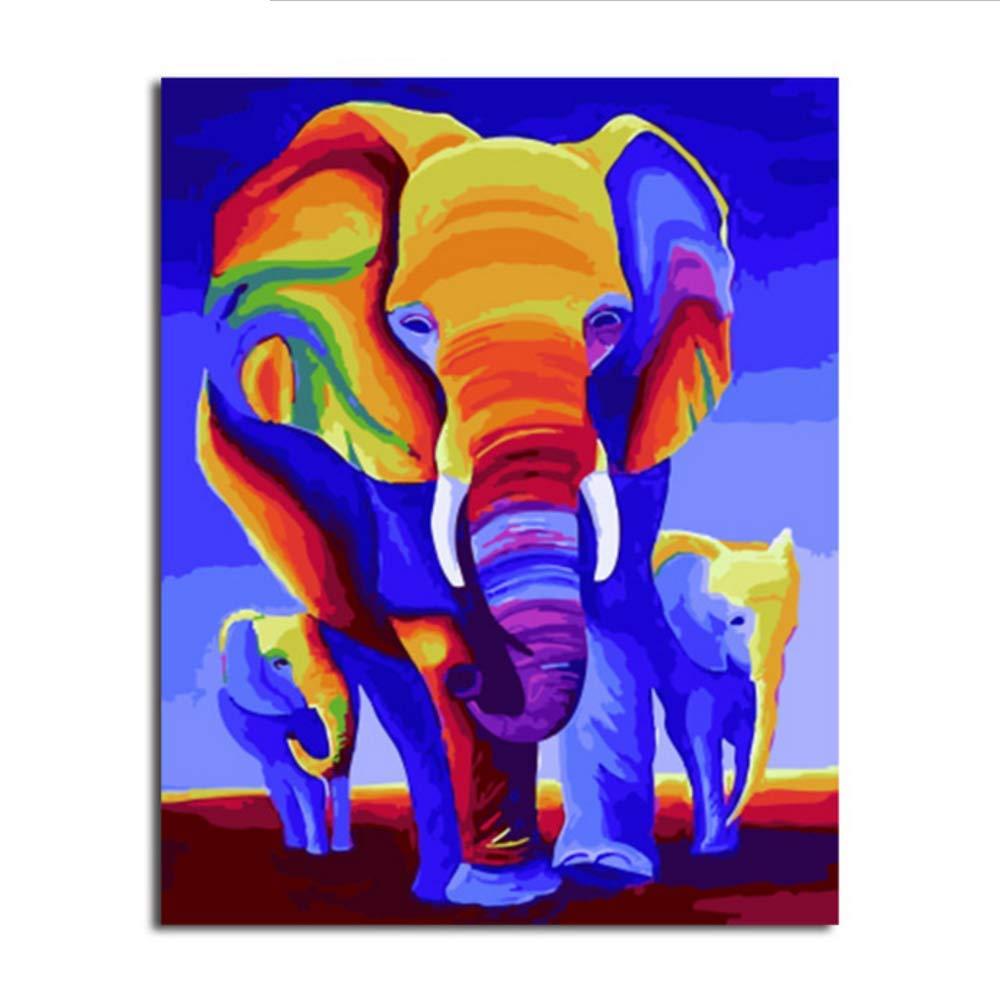 Waofe  Gerahmte Bilder Diy Malen Nach Nach Nach Zahlen Elefant Diy Digitale Leinwand Ölgemälde Wohnkultur Wandkunst B07PMX17JH | Verwendet in der Haltbarkeit  687367