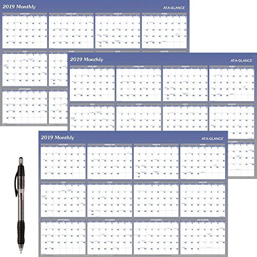 "AT-A-GLANCE A1152-18 Yearly Wall Planner, January 2019 - December 2019, 48"" x 32"", Vertical, Horizontal, Erasable, Reversible, Blue (A1152) 3 Pack - Bundle Includes Black Ballpoint Pen -  1152-19/3B"
