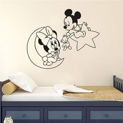 Adesivi Murali Minnie E Topolino.Adesivo Murale Topolino Minnie Mouse Luna Stella Vivaio Cartoon Home