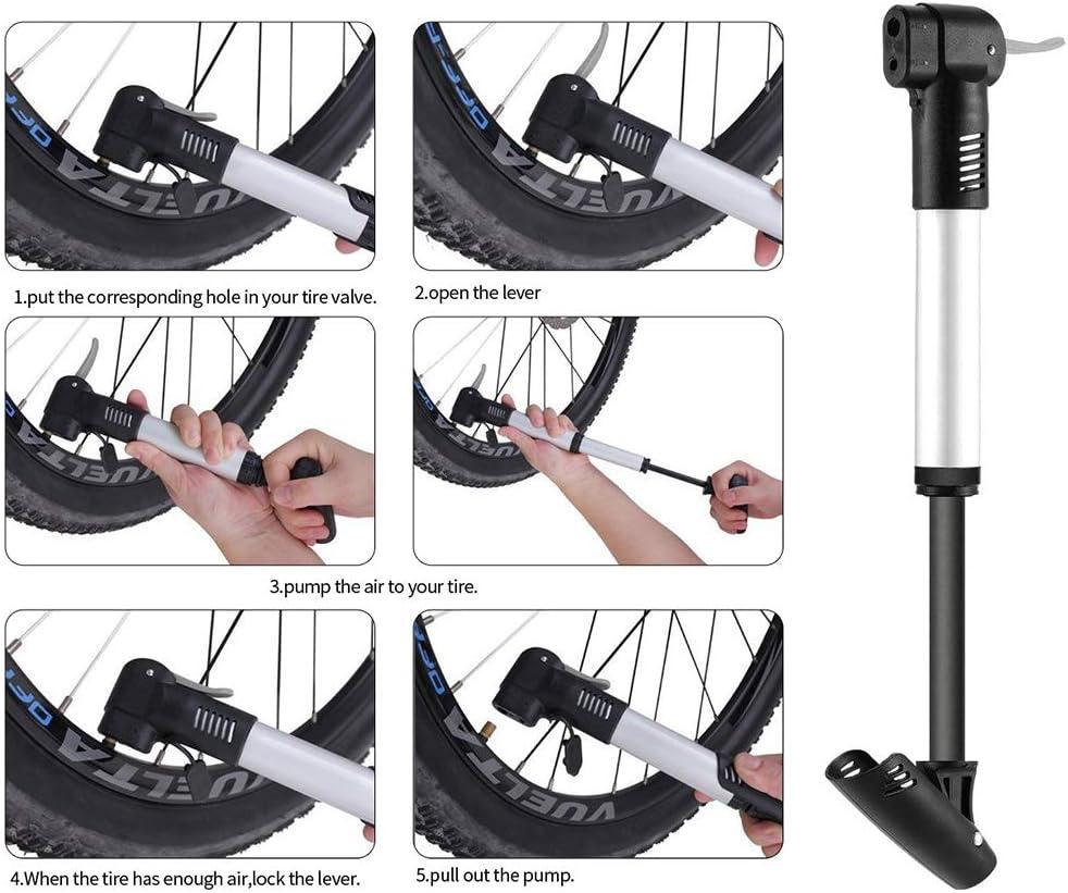 120 PSI 1 St/ück Flexibler Verl/ängerungsschlauch 2 Kugelpumpennadel 2 Metallraspeln Yovanpur Mini Bike Pump /& Bike Inflation Pannensicherungssatz mit 2 Reifenhebeln passend f/ür Presta /& Schrader