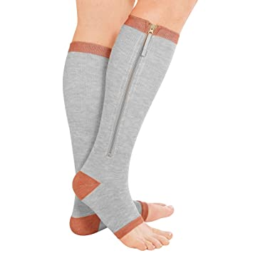 3b6fb650f4 Zippered Copper Medical Compression Socks - Open Toe Zipper Stocking for  Varicose Veins, Edema,