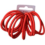 Set of 10 Red Thick Snag Free Endless Hair Elastics Bobbles Hair Bands by Pritties Accessories