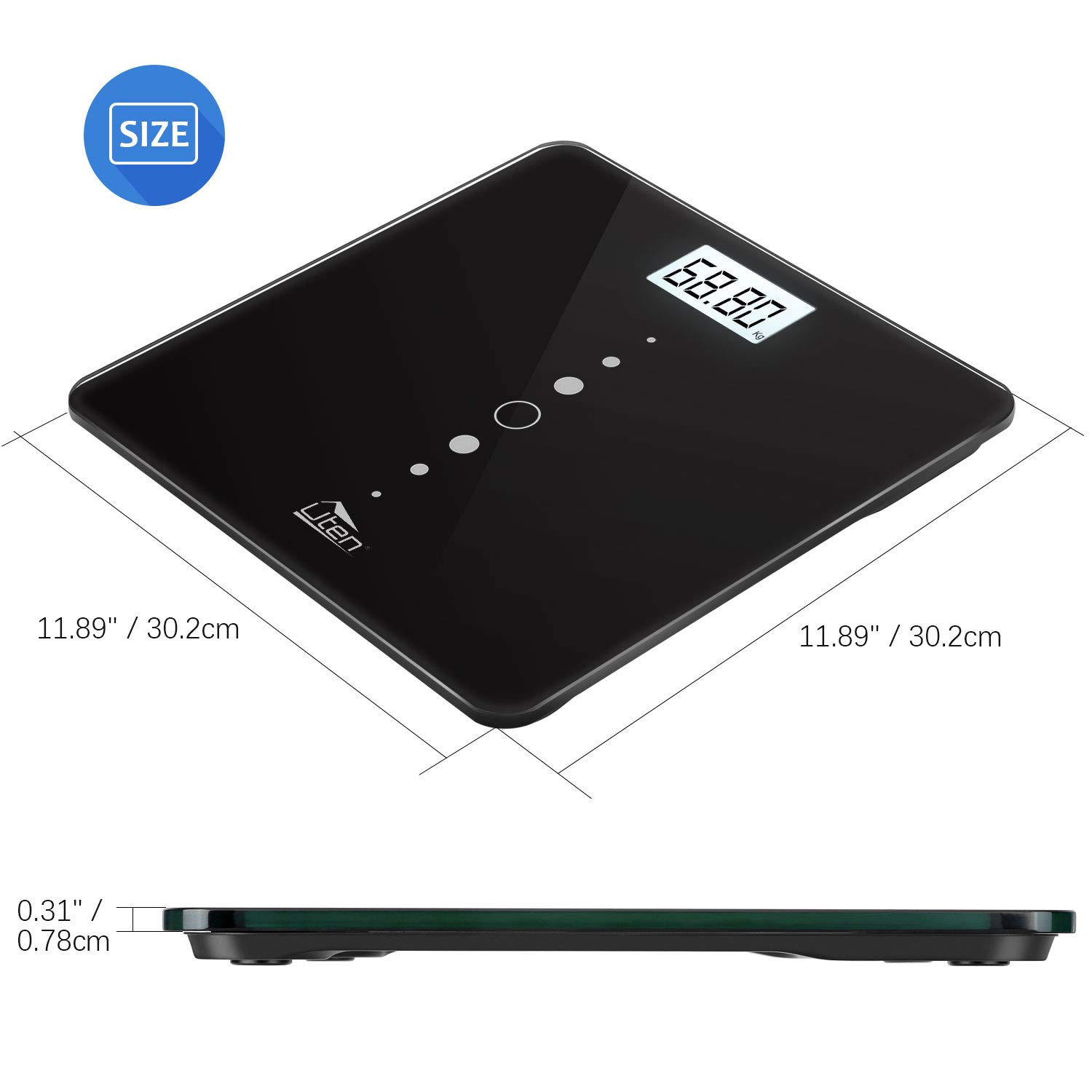 Uten Digital Bathroom Scales High Precision Weighing Scale with Step-On Technology,Backlight Display,200kg//440lb//31st