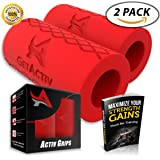 Activ Grips - Thick Bar Training Adapter [2 Pack] w/ Bonus E BOOK // Fat Grip Attachment Fits On Barbell, Dumbbell, Cable Attachment For Extreme Muscle Growth - Strengthen Forearms, Biceps, Triceps