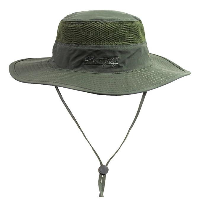 8673e3635776d Home Prefer Men's Sun Hat UPF 50+ Wide Brim Bucket Hat Windproof Fishing  Hats