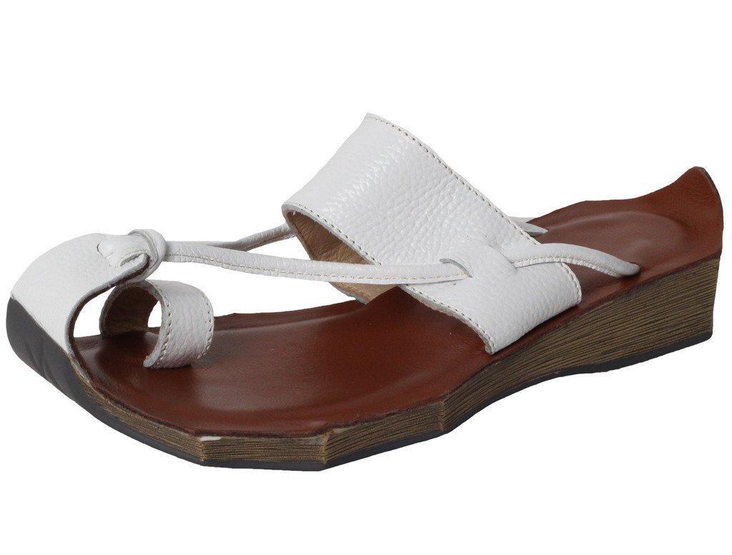 MatchLife Sandalen Zehentrenner Komfort Pantoletten Vintage Hausschuhe Schuhe Leder Flach Slippers Freizeit Schuhe Hausschuhe  40 EU|Wei? 829b87