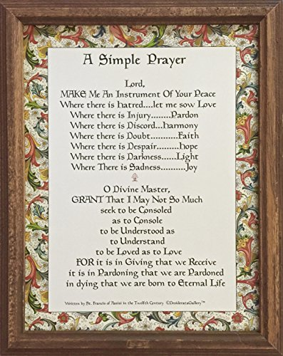 Desiderata Gallery Brand, Framed Italian Border Simple Prayer, Prayer of Peace for Pope Francis Gift, By St. Francis of Assisi