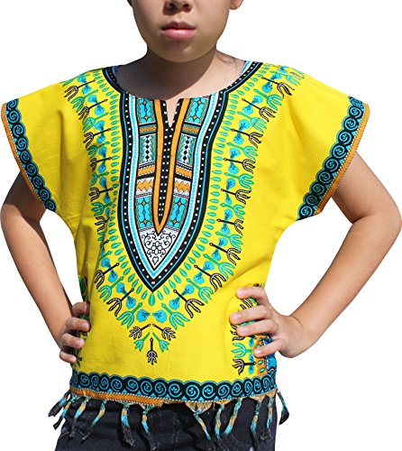 Raan Pah Muang RaanPahMuang Bright Africa Colour Shirt Childs Dashiki Decorated With Tassel, 1-3 Years, Yellow by Raan Pah Muang