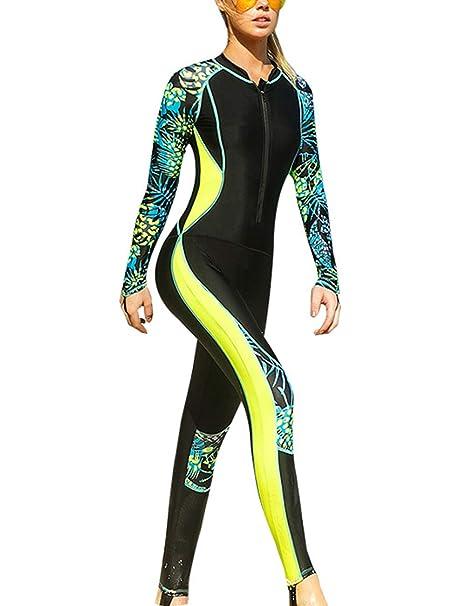 d7fc816d5ce0f TAAMBAB Buceo Surf Traje de Neopreno Playa Wakeboard Trajes de Baño con Floral  Manga - Agradable para la Piel Una Pieza para Mujer Casual Oceano Deporte   ...