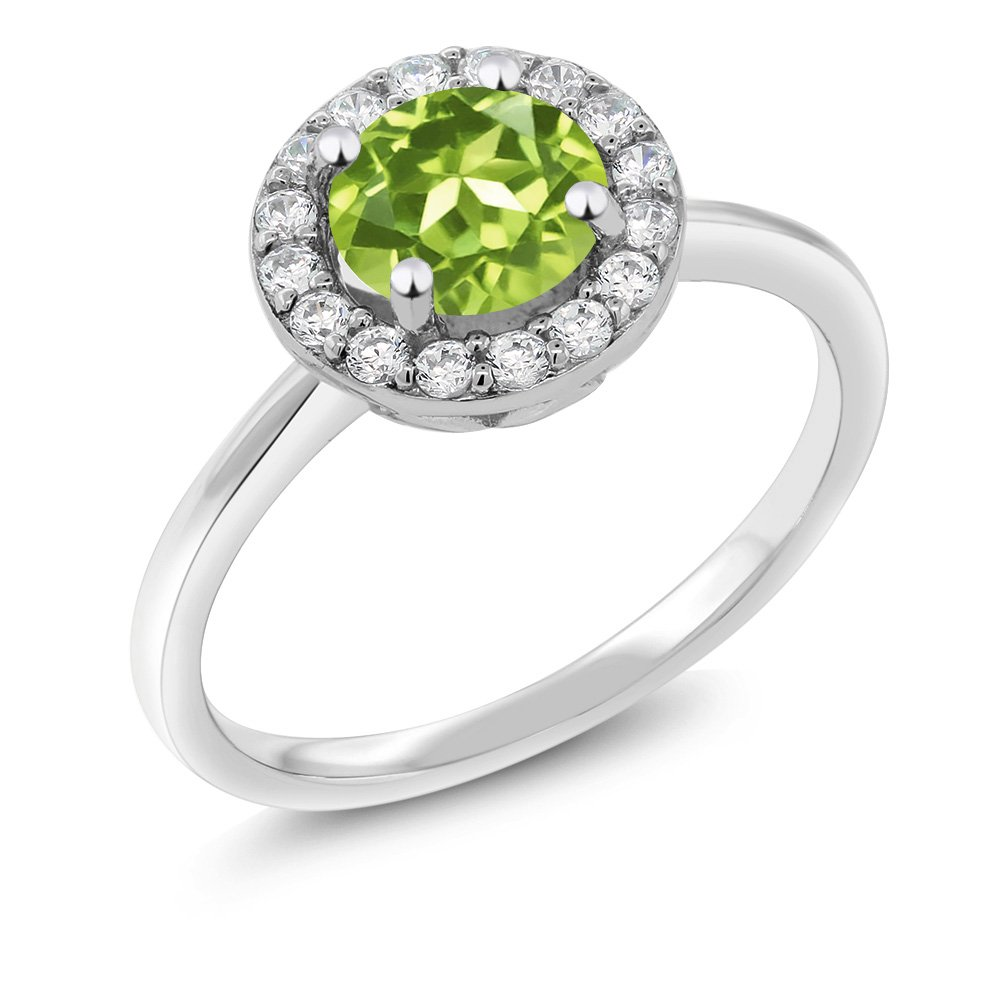 1.55 Ct Round Green Peridot 925 Sterling Silver Women's Halo Ring (Size 7)