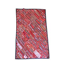 Mogul Ethnic Tapestry Embroidered Handmade Patchwork Multi Orange Wall Hanging Throw 90x80