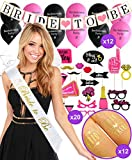 BACHELORETTE PARTY DECORATIONS KIT | Bride To Be Bridal Wedding Shower Set | Sash, Veil/Comb, Banner, Bride Tribe Tattoos, Photo Booth Props, Balloons | Wedding Engagement Party Supplies Accessories