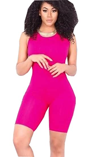 7db2f128b8af ICOOLTECH Women Casual Sleeveless Bodycon Romper Jumpsuit Club Bodysuit Short  Pants (S