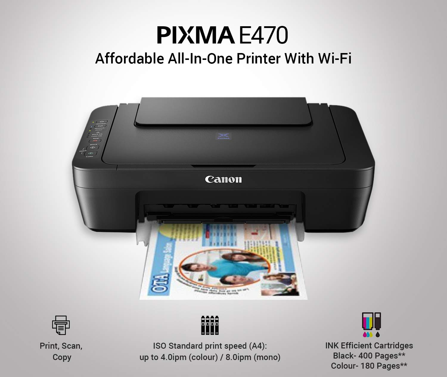 Canon Pixma E470 All In One Inkjet Printer Black Amazonin