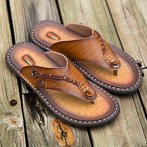 ShangYi Summer men's soft bottom flip-flops men's fashion leather sandals outdoor beach shoes tide Brown 2 lKniA4X