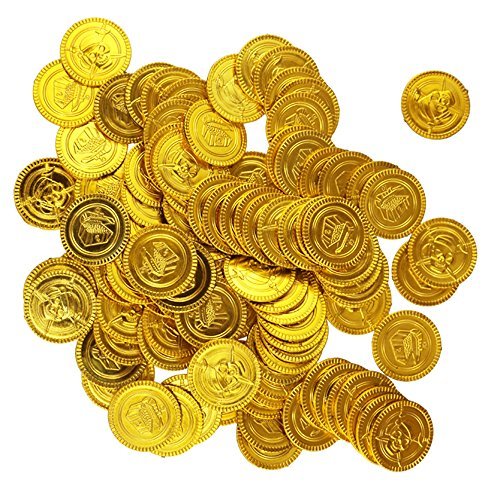 Etmact 100pcs Plastic Play Gold Treasure Coins]()