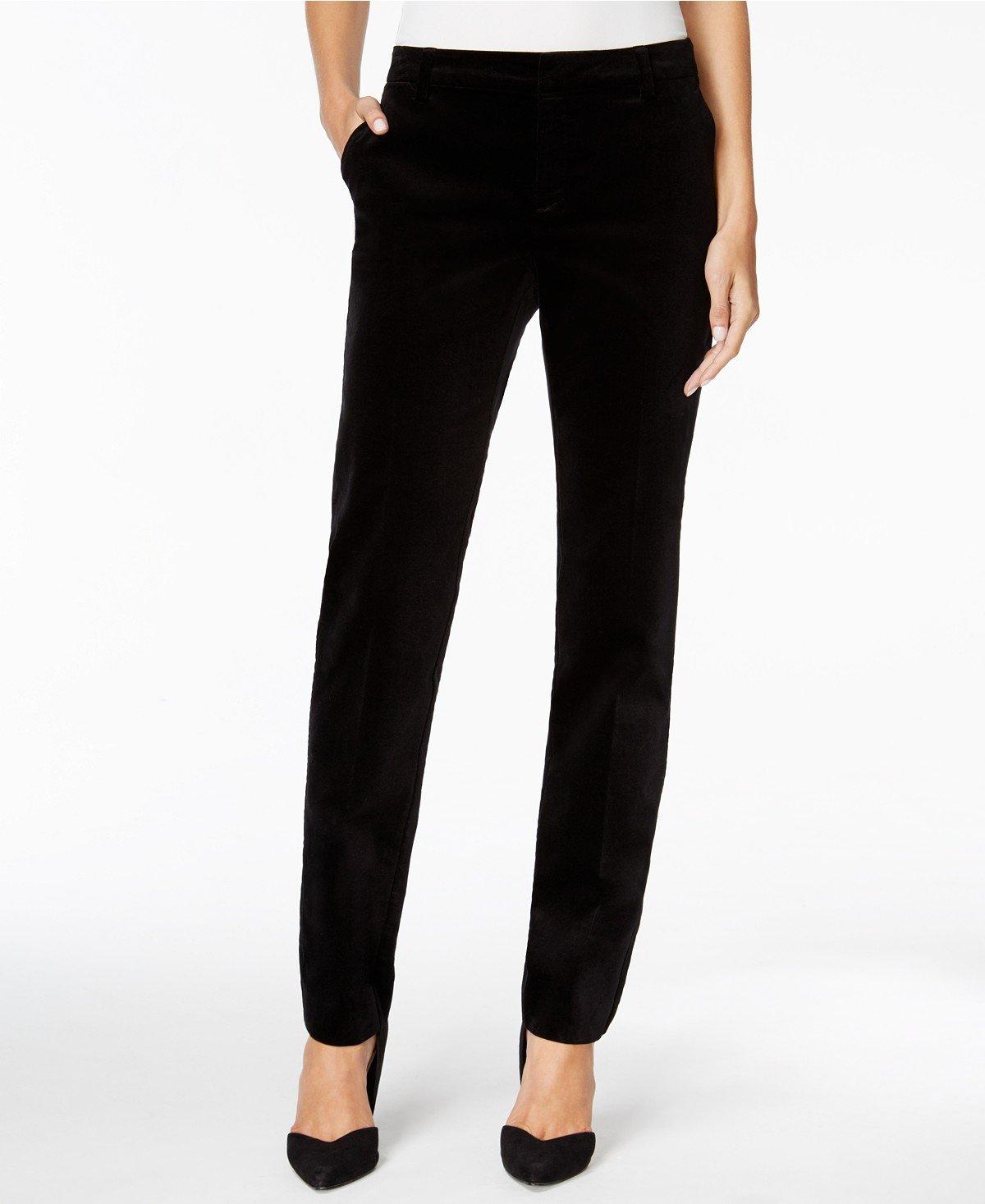 Charter Club Petite Velvet Slim-Leg Pants Deep Black 8P