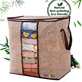 #4: Janolia Clothes Blanket Quilts Storage Bag, Extra Space Storage Bag, Foldable Storage Organizers Closet, Eco Friendly Bamboo Non-woven Fabric, Breathable Anti Bacterial, Anti Mites and Mold