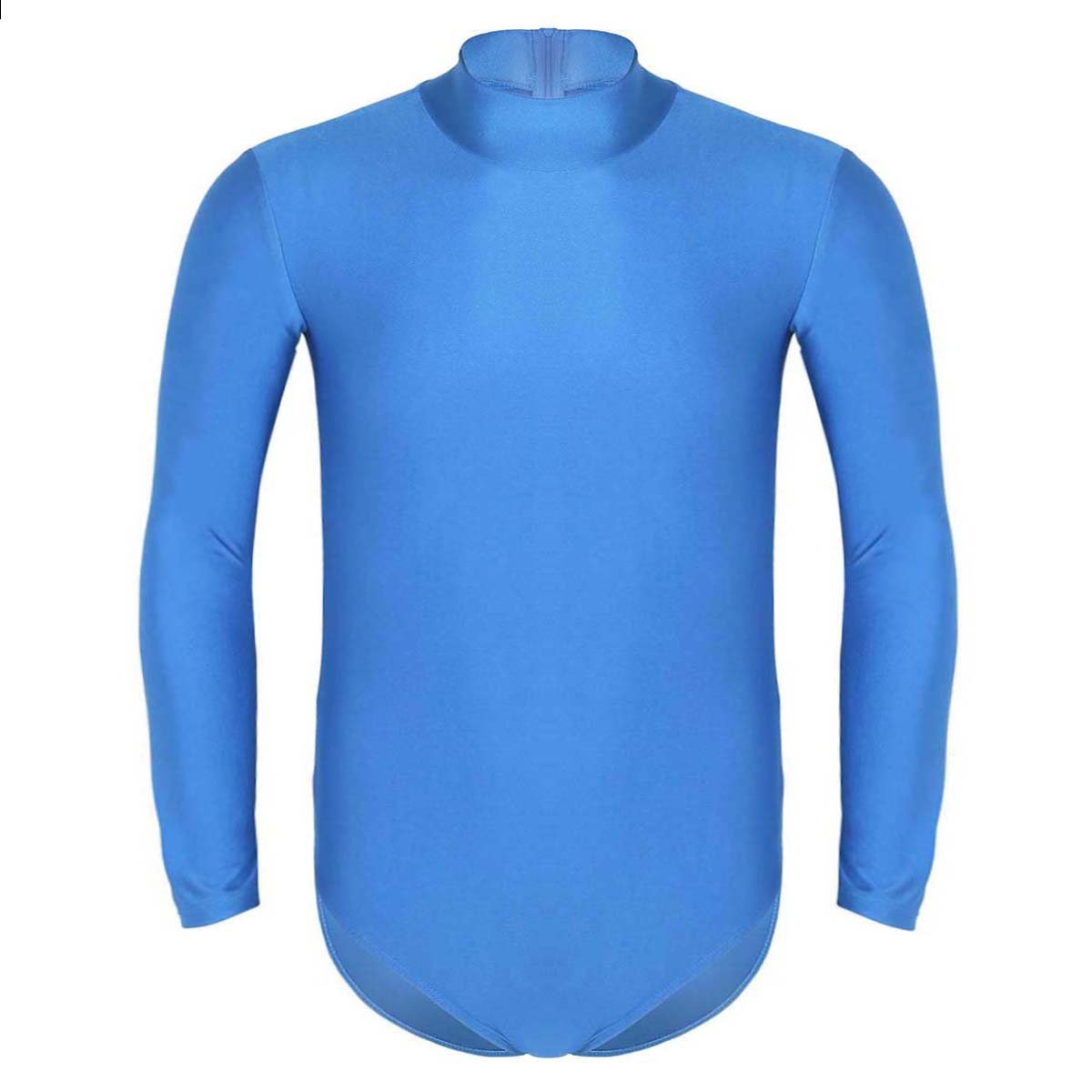 iEFiEL Mens Long Sleeve Stand Collar Leotard Bodywear Underwear Wrestling Singlet Nightwear Light Blue M