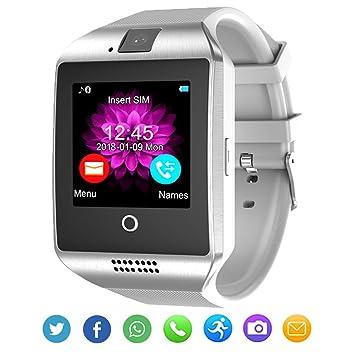 Reloj inteligente Bluetooth con cámara para Android iOS Hombres Mujeres Niños (Blanco): Amazon.es: Electrónica