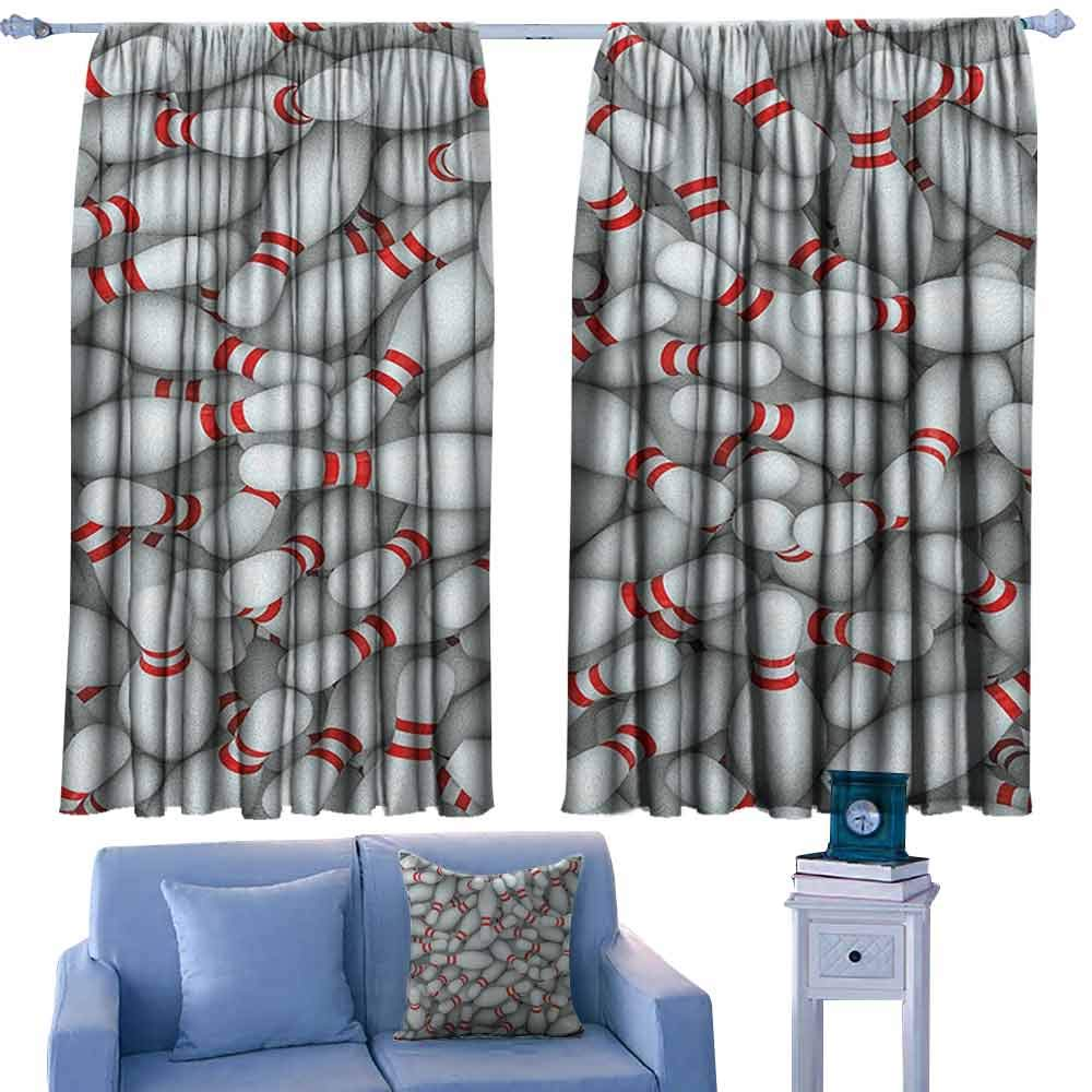 Bowling Party Lovely Drapes Pile of Vivid Bowling Pins and Skittles with Red Stripes 3D Style Print,Curtains for Living Room Bedroom Kitchen,W52 x L63 Inch by ParadiseDecor