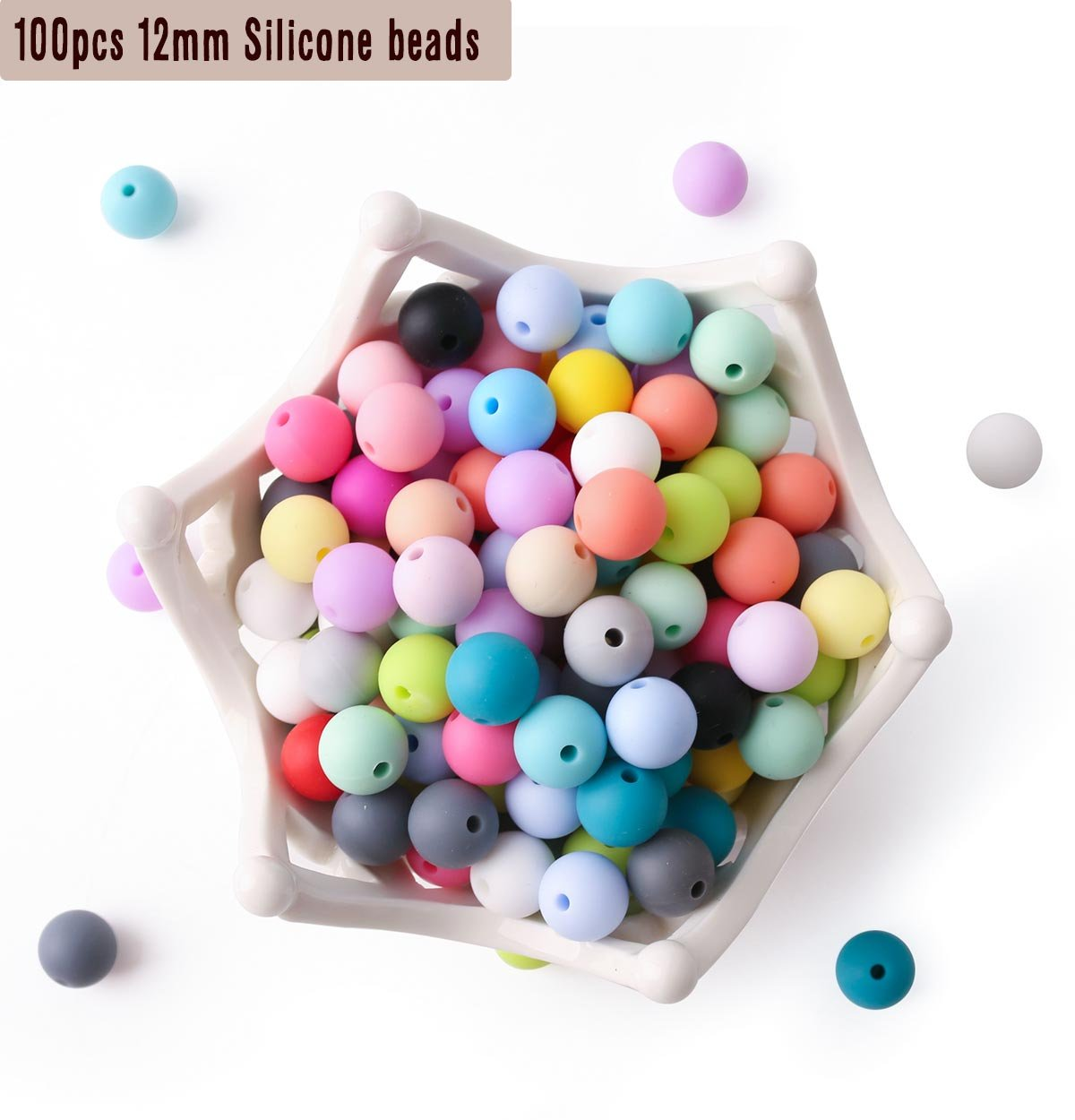 100pc 12mm Silicone Beads Loose Teething Chew Jewelry Teething Bracelet Teether Toy DIY Supplies DIY Jewelry Nursing Necklace HAO JIE