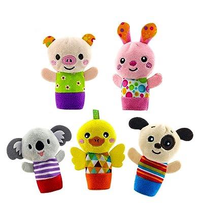 Bomcomi 5PCS / Set marioneta de Dedo Lindos de la Historieta biológicas de los Animales Juguetes de Peluche del niño del bebé del Favor de Las muñecas de Las Muchachas de Marionetas del Dedo: Hogar