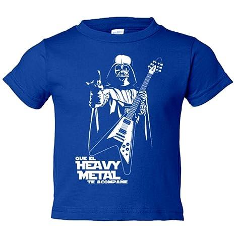Camiseta niño Que el Heavy Metal te acompañe - Azul Royal, 3-4 años