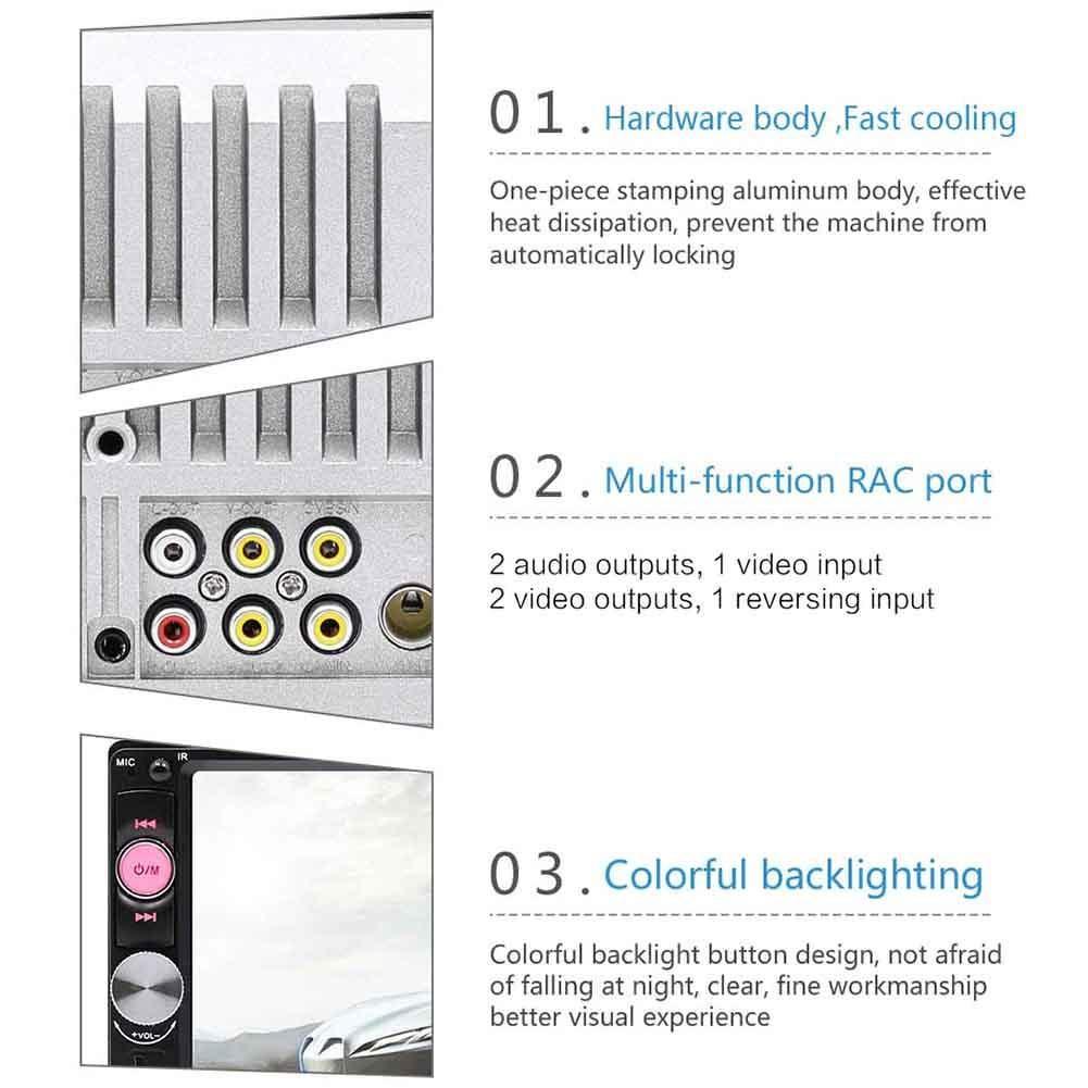 Biback 7Pantalla Port/átil Est/éreo Audio Est/éreo Bluetooth Touch USB FM Radio Receptor Reproductor MP5