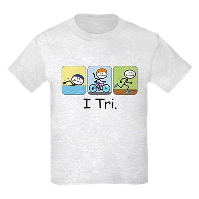 1d03a3023 CafePress - Triathlon Stick Figure Kids Light T-Shirt - Kids Cotton T-Shirt