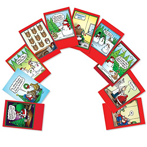 Assorted Boxed of 10 'Holly Jolly Rice Cakes' Funny Merry Christmas Cards w/ Envelopes - Happy Holidays and Seasons Greetings - A Variety Assortment Box of 1 Card Each of 10 designs A5557XSG-B1x10