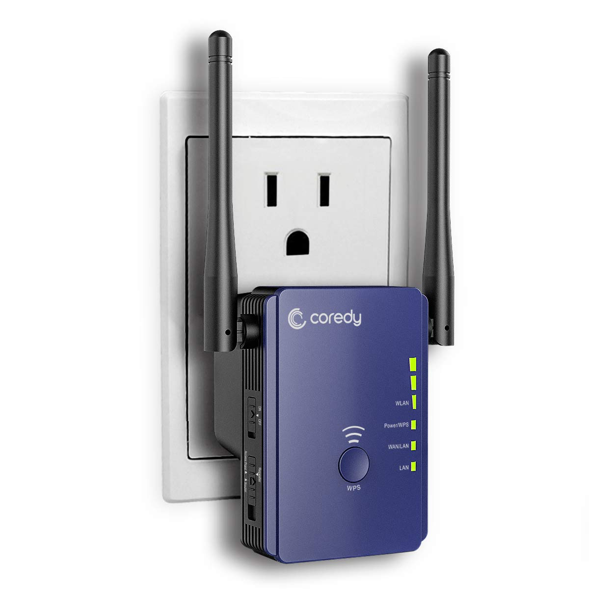 Coredy Upgraded 300Mbps Mini WiFi Extender/Wi-Fi Range Extender/Wireless Repeater/Internet Signal Booster with External Antennas, Compatible with Alexa, Extends WiFi to Smart Home & AlexaDevices